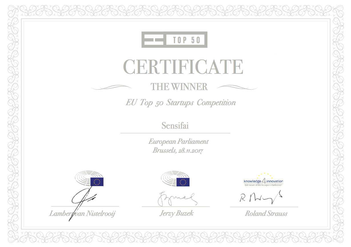 Sensifai in the European top 50 startups